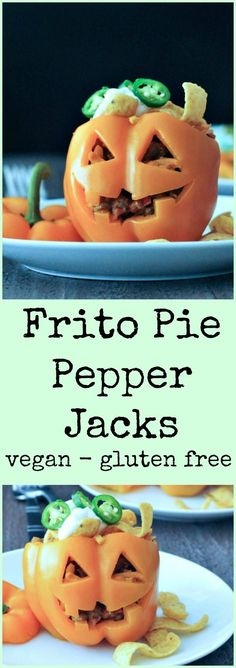 Frito Pie Pepper Jacks - a fun and festive Halloween dinner that is easy, tasty, and will fuel you for the whole evening of Halloween fun. Halloween Snacks, Halloween Dishes, Healthy Halloween, Lunchbox Kids, Frito Pie, Delicious Vegan Recipes, Vegetarian Recipes, Food Dishes, Dishes Recipes