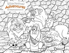 a coloring page from the story thrown to the lions daniel