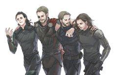 Loki, Thor, Steve and Bucky.... MY BABIES!!!!
