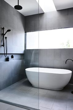 Dreaming of an extra or designer master bathroom? We've gathered together lots of gorgeous master bathroom tips for small or large budgets, including baths, showers, sinks and basins, plus master bathroom decor tips. Bathroom Layout, Modern Bathroom Design, Bathroom Interior Design, Small Bathroom, Bathroom Ideas, Wet Room Bathroom, Minimal Bathroom, Wet Room With Bath, Bathroom Grey