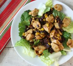 Barbecue Chicken Salad #WeekdaySupper  #McSkilletSauce - A simple, sweet smoky barbecue chicken salad made with black beans and corn.
