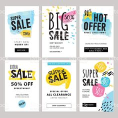 Funny and eye catching sale banners collection illustrazione royalty-free