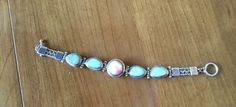 Mexican Silver Link Bracelet with Bezel Set Pastel Stones #ecochic #silverlinkbracelet