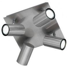 Lampara de techo Plafon 4 Focos LED - Niquel