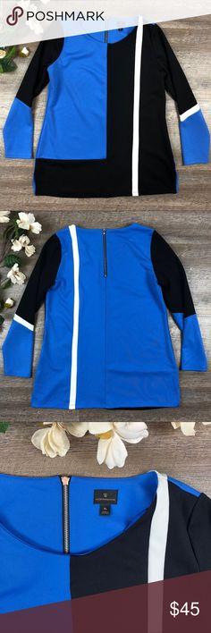 "Washington Tunic Beautiful blue and black Washington tunic/top! In excellent condition. 93% polyester, 7% spandex. Size L. 30"" long. B-17 Washington Tops Tunics"