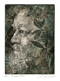 'Green Man' (etching) - Sioban Coppinger