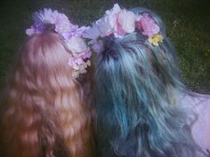 long coloured hair with flowers