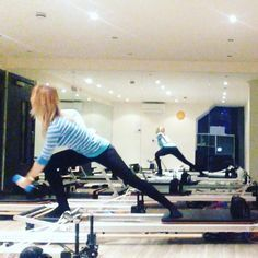 """#powerpilatesuk in true form! Use one white spring #Pilates #reformerpilates #beckenham #bromley #health #fitness #fit #fitnessmodel #fitnessaddict…"""