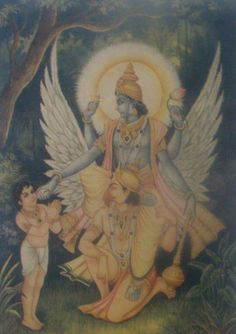 Vishnu riding His eagle Garuda, talking to a young devotee.