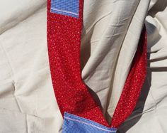Pocket Sash Red floral with Blue gingham pockets / Extra Pockets / Apron Like / Stay at Home Mom / Handy / Keeper