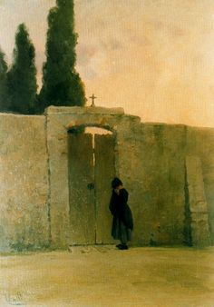 Modest Urgell Inglada (1839 - 1919). Puerta de cementerio con una niña llorando. Óleo sobre tela. 73 x 52 cm