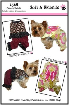 Elli Kay Dog Suit PATTERN BUNDLES - Purchase several sizes of one pattern and SAVE! Includes sizes XXSM/XSm, Sm/Med, Lg/XLg & XXLg.  Enchanting Elli Kay Dog Suit Pattern for your little dog! Constructed of cotton and cotton blend fabrics, the dog suit has a fully lined bodice using Velcro closures on the neck and belly tabs for ease of dressing. The belly opening is elasticized to get a perfect fit and the frilly waist and leg ruffles add a touch of sweetness. Such a fun do...