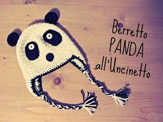 """Berretto """"panda"""" all'Uncinetto - YouTube"""
