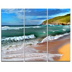 DesignArt Blue Sea with Warm Waves - 3 Piece Graphic Art on Wrapped Canvas Set