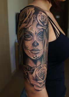Ideas Tattoo Frauen Oberarm La Catrina - You are in the right place about Ideas Tattoo Frauen Oberarm La Catrina Tattoo Design And Styl - Sugar Skull Tattoos, Leg Tattoos, Body Art Tattoos, Girl Tattoos, Tatoos, Tattoo Arm, Tattoos Pics, Portrait Tattoos, Sugar Skull Sleeve