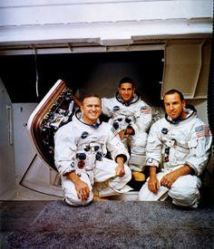 La tripulación del Apolo 8. De izqda. a derecha: Borman, Anders y Lovell (NASA).
