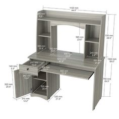 Workstation with Hutch Smoke Oak - Inval