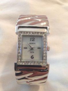 New Geneva Silver & Rhinestone Bangle Cuff Watch #Geneva #LuxuryDressStyles