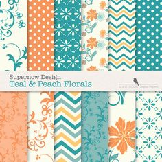 FREE COMMERICAL use 40% Off Digital Paper Pack. Teal