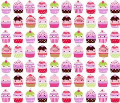 kawaii cupcakes fabric by katarina on Spoonflower - custom fabric