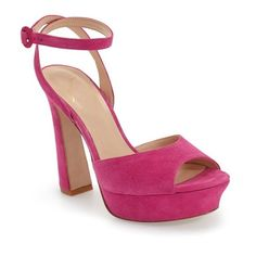 Women's Kay Unger 'Laelyn' Platform Sandal (£150) ❤ liked on Polyvore featuring shoes, sandals, fuschia suede leather, suede platform sandals, fuchsia shoes, suede sandals, ankle strap shoes and platform sandals