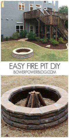 DIY Fireplace Ideas - Easy Firepit DIY - Do It Yourself Firepit Projects and Fireplaces for Your Yard, Patio, Porch and Home. Outdoor Fire Pit Tutorials for Backyard with Easy Step by Step Tutorials - Cool DIY Projects for Men Fire Pit Video, Easy Fire Pit, Cheap Fire Pit, Round Fire Pit, Diy Outdoor Fireplace, Diy Fireplace, Backyard Fireplace, Fireplace Design, Foyers