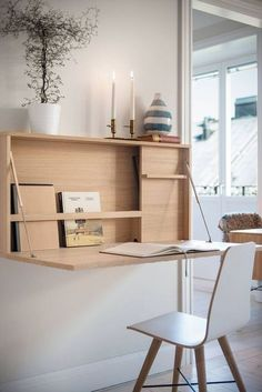 Diy Projects Home Office, Home Office Design, Home Office Decor, Home Interior Design, Diy Home Decor, Office Designs, Office Ideas, Desk Ideas, Murphy Desk