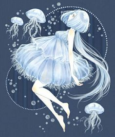 Art girl illustration anime characters Ideas for 2019 Chica Anime Manga, Art Anime, Anime Kunst, Kawaii Anime, Fantasy Kunst, Fantasy Art, Jellyfish Art, Jellyfish Light, Jellyfish Drawing