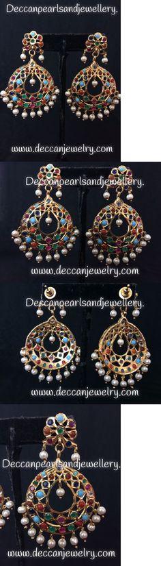 Earrings 98510: Navratan Chandbali Hyderabadi Jadau Earrings Indian Pakistani Jewellery -> BUY IT NOW ONLY: $38 on eBay!