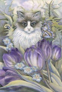 Garden Of The Heart by Jody Bergsma ~ cat ~ purple tulips ~ butterfly