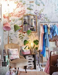 "Childrens section in the store ""Vintagefabriken"" Follow link to wallpaper: http://www.mrperswall.com/wall-murals/blossom-p162101-8"