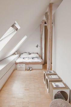 Prodigious Attic bedroom log cabin,Attic renovation value and Attic storage for clothes. Attic Loft, Loft Room, Garage Attic, Attic Office, Attic Playroom, Attic Renovation, Attic Remodel, Attic Spaces, Small Spaces