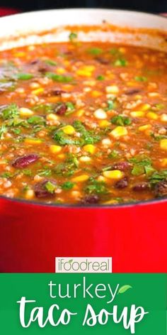 Every spoonful of this Turkey Taco Soup is bursting with flavorful ground turkey, beans and corn. This easy 30 minute soup can be made on the stove or in a slow cooker. Don't forget your favorite toppings!