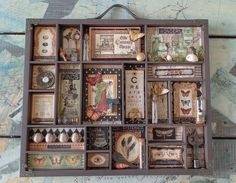 Beautiful altered tray using Olde Curiosity Shoppe by Rhea Freitag! Beautiful altered tray using Olde Curiosity Shoppe by Rhea Freitag! Scrapbooking, Scrapbook Cards, Graphic 45, Altered Boxes, Altered Art, Vitrine Vintage, Arte Steampunk, Shadow Box Art, Assemblage Art