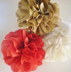 Coral cream gold fabric pom poms for home decor, weddings, nurseries, deep coral, mandarin orange, ivory on Etsy, $37.50