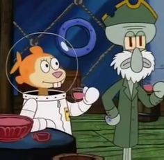 Squidward Tentacles and Sandy Cheeks