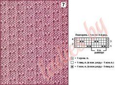 Коллекция простых рельефных узоров спицами Knit Purl Stitches, Knitting Stiches, Easy Knitting Patterns, Knitting Charts, Lace Knitting, Knitting Designs, Knitting Projects, Stitch Patterns, Knit Crochet