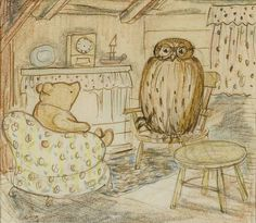 """""""Pooh visiting in Owl's parlor,' in pen, ink and colored pencil. The picture was published in the 1929 Methuen edition of Winnie-the-Pooh."""""""