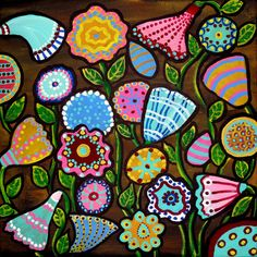 Funky Flowers Floral Fun Colorful Whimsical Folk Art Renie QAE | eBay
