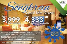 Planning to JOIN THE WATER FUN in BANGKOK during SONGKRAN as Thailand CELEBRATES THE THAI NEW YEAR?    The Pathumwan Princess Hotel COOL ME DOWN PACKAGE includes daily breakfast and a welcome drink, PLUS a Songkran Water Pistol, Fragrant Chalk and a Zip Lock Bag to protect you phone or camera from water damage.     Superior Room from 3,999 Bt net SINGLE and from 4,333 Bt net TWIN/DOUBLE     BOOK NOW http://pprincess.com/reservations?utm_source=PININTEREST_medium=POST_campaign=SONGKRAN