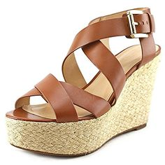 MICHAEL Michael Kors Women's Celia Mid Wedge Luggage Vachetta Sandal 9 M * You can get more details at