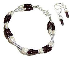 Pearls Garnets Sterling Silver Criss Cross Bracelet Mushroom Earrings