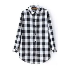 SheIn(sheinside) Black White Long Sleeve Plaid Blouse (€15) ❤ liked on Polyvore featuring tops, blouses, multi color, black and white blouse, long sleeve blouse, multi color tops, colorful tops and collar top