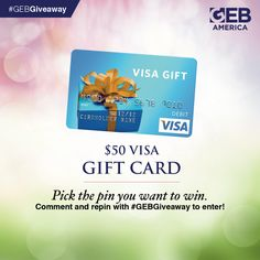 GEB America's Spring Giveaway allows you to pick your prize! Visit the Spring Surprise Giveaway board, pick the pin you want to win, comment and re-pin to enter. It's that easy! #GEBGiveaway Enter to win this $50 Visa gift card by commenting below and re-pinning this pin! It's that easy!