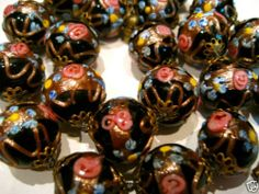 Vintage Venetian Murano Italy Wedding Cake Art Glass Lampwork Bead Necklace | eBay