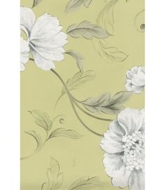 Rasch 226133 Green        Designer Wallpaper Grey Green And Charcoal Black Leaf Trail With Metallic Sketched Flower