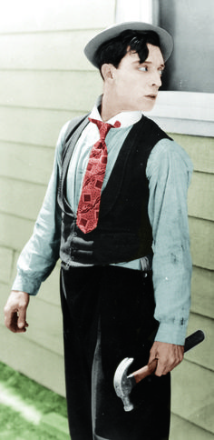 Buster Keaton in One Week (1920), recolor.