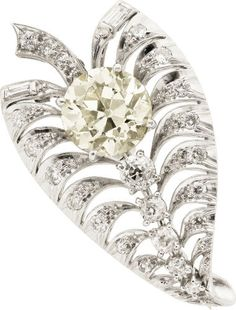 Estate Jewelry:Brooches - Pins, Art Deco Diamond, Platinum Brooch. ...