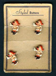 Vintage 1930s Disney Tie-In Seven Dwarfs Plastic Buttons on Card