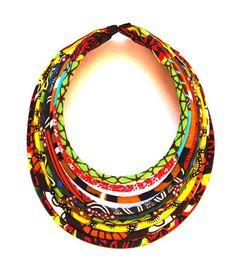 Collier textile tribal *Massaï* wax 9 rangs